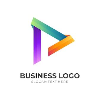 Speel knop logo concept met 3d-kleurrijke stijl
