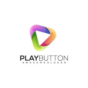 Speel knop logo kleurrijke kleurovergang illustratie