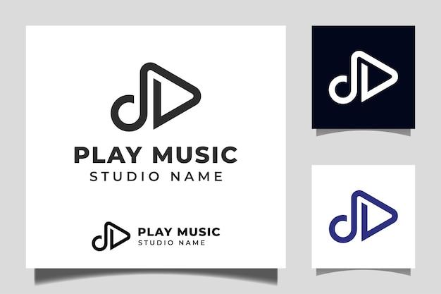 Speel knoppictogram vector met pulse-muziekspelerontwerp voor logo-sjabloon voor multimedia-muziekstudio's