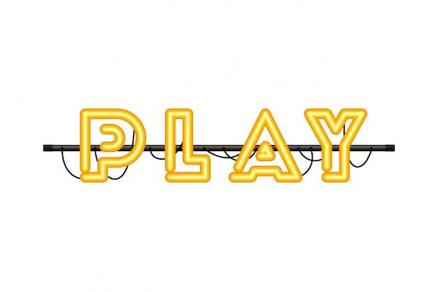 Speel label in neonlichtpictogram
