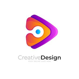 Speel logo met ontwerptechnologie Premium Vector