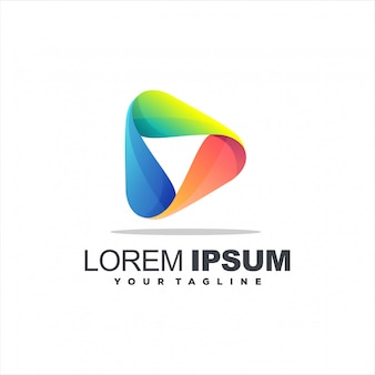 Speel media gradiënt logo-ontwerp