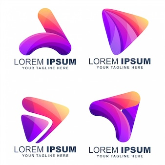 Speel media kleurrijke logo's ontwerpen vector
