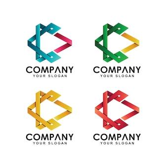 Speel media logo-collectie met lijnstijl