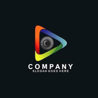 Speel met optisch voor technologie-logo