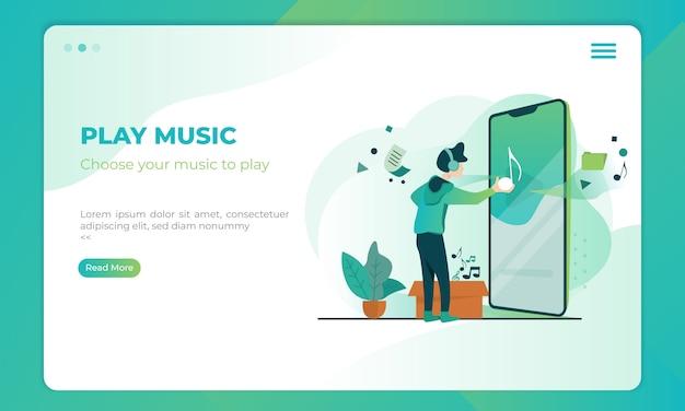 Speel muziek illustratie op bestemmingspagina sjabloon