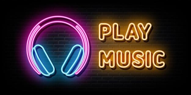 Speel muziek logo neon signs vector