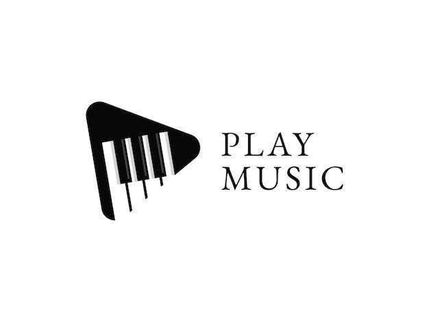 Speel muziek logo ontwerp concept piano illustraties