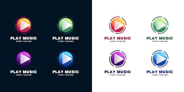 Speel muziek logo set