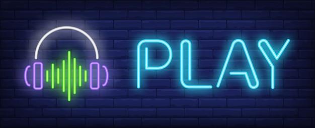 Speel neontekst met een koptelefoon en geluidsgolf