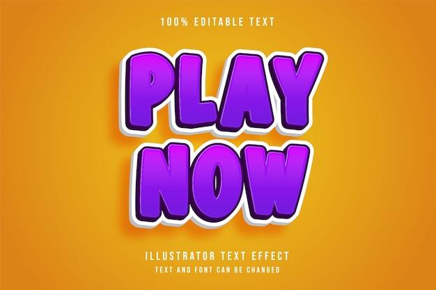 Speel nu, 3d bewerkbaar teksteffect roze gradatie paars spelstijl effect