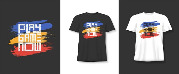 Speel nu een spel typografie t-shirt