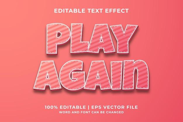 Speel opnieuw 3d bewerkbaar teksteffect premium vector