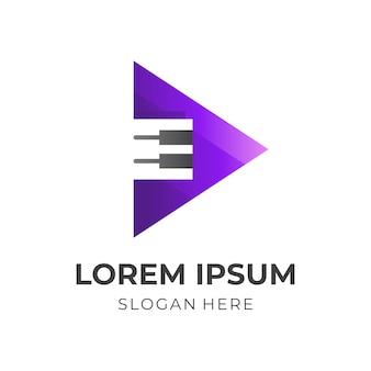 Speel piano-logo, piano en speel, combinatielogo met 3d-zwarte en paarse kleurstijl