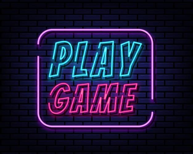 Speel spel teken neon stijl
