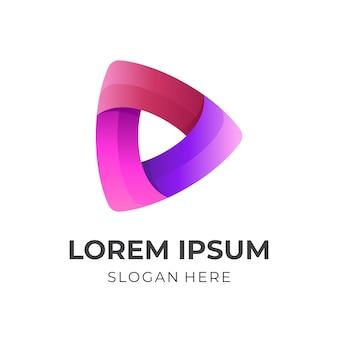 Speel spin-logo-ontwerp met 3d-kleurrijke stijl
