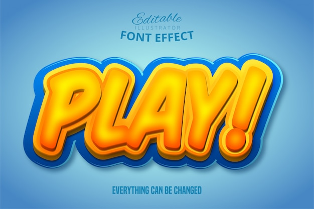 Speel tekst, 3d oranje en blauw bewerkbaar lettertype-effect