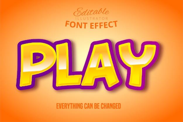 Speel tekst, 3d-paars en geel bewerkbaar lettertype-effect