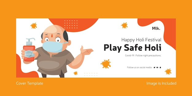 Speel veilig holi facebook-omslagpagina-ontwerp