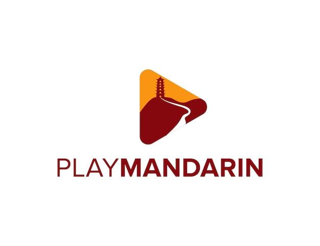 Speel video mandarijnen eenvoudig strak creatief geometrisch modern logo-ontwerp