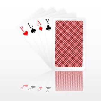Speel woord azen pokerhandvlieg en één gesloten speelkaarten pakken. winnende pokerhand.