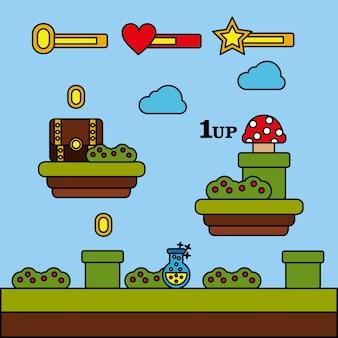 Speelautomaat munttoestel met munten op niveau niveau