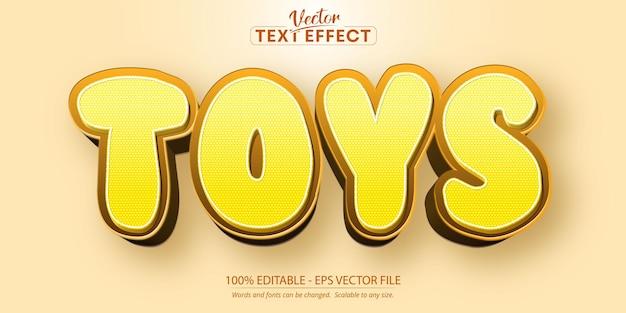 Speelgoed bewerkbaar teksteffect, gele kleur cartoon lettertypestijl