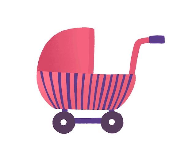 Speelgoed buggy vlakke afbeelding. meisjesachtig speelgoed, poppenwagen. roze kinderwagen, kinderachtig voertuig