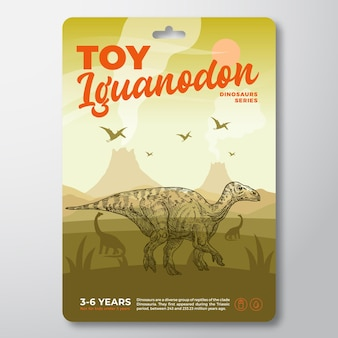 Speelgoed dinosaurus label sjabloon abstracte vector verpakking ontwerp lay-out moderne typografie