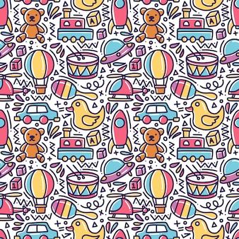 Speelgoed doodle naadloze patroon
