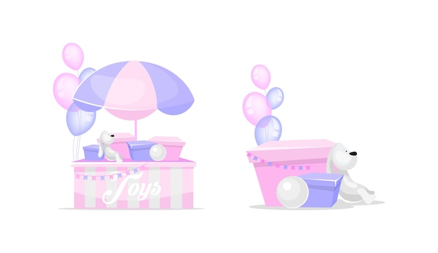 Speelgoed egale kleur objecten ingesteld. konijnenspeelgoed voor kinderen. aanwezige dozen. speelgoed verkopen en doneren. liefdadigheid geïsoleerde cartoon