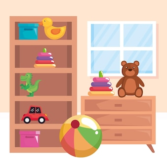 Speelgoed in de speelkamer