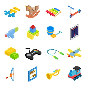 Speelgoed isometrische 3d-pictogrammen instellen
