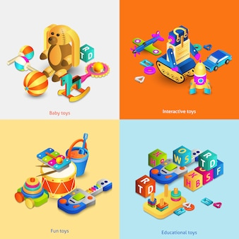 Speelgoed isometrische set
