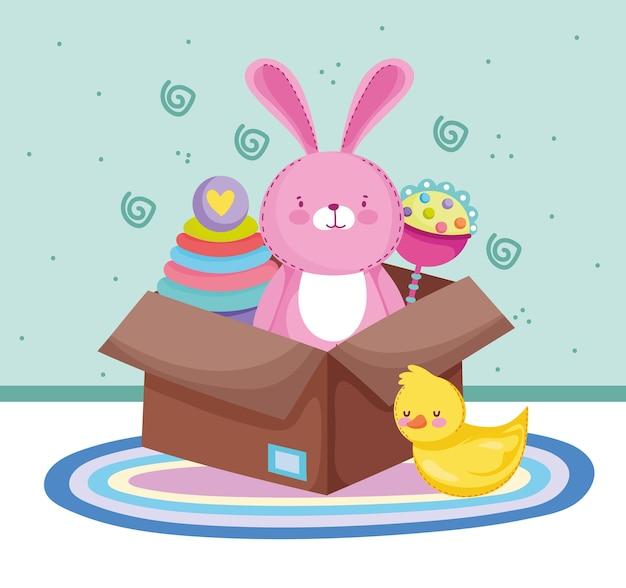 Speelgoed kartonnen doos konijn eend