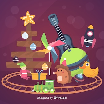 Speelgoed kerstmis achtergrond