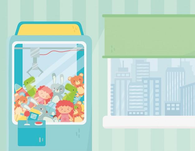 Speelgoed klauw machine kamer venster stadsgezicht