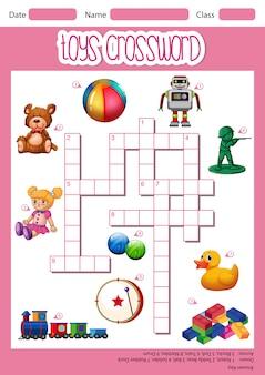 Speelgoed kruiswoordraadselspel sjabloon