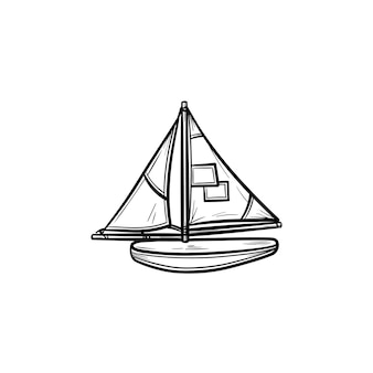 Speelgoed model van een schip hand getrokken schets doodle pictogram. bouw en modellering van speelgoed schepen en schepen vector schets illustratie voor print, web, mobiel en infographics geïsoleerd op een witte achtergrond.