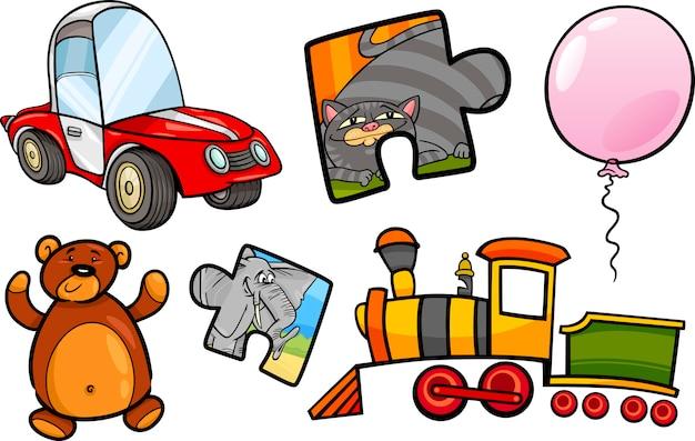 Speelgoed objecten cartoon afbeelding instellen