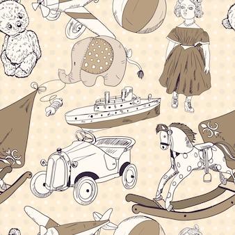 Speelgoed schets naadloze patroon behang