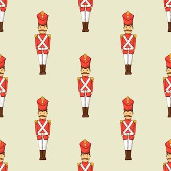 Speelgoed soldaat naadloze patroon. kinderbehang met karakter.