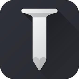 Speelgoed spijker in plat ontwerp met lange schaduw vector illustratie icon