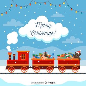 Speelgoed trein kerstmis achtergrond