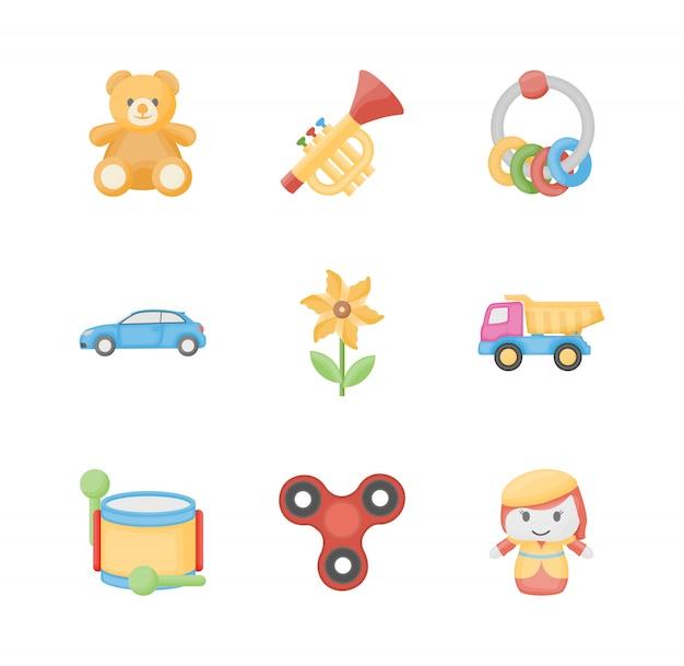 Speelgoed voor kinderen plat pictogrammen