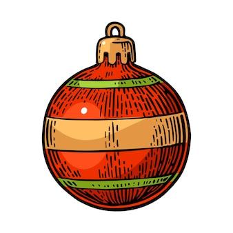 Speelgoedbal voor dennenboom voor prettige kerstdagen en gelukkig nieuwjaar geïsoleerd op wit vectorgravure