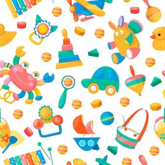 Speelgoedcollectie voor baby's naadloos patroon