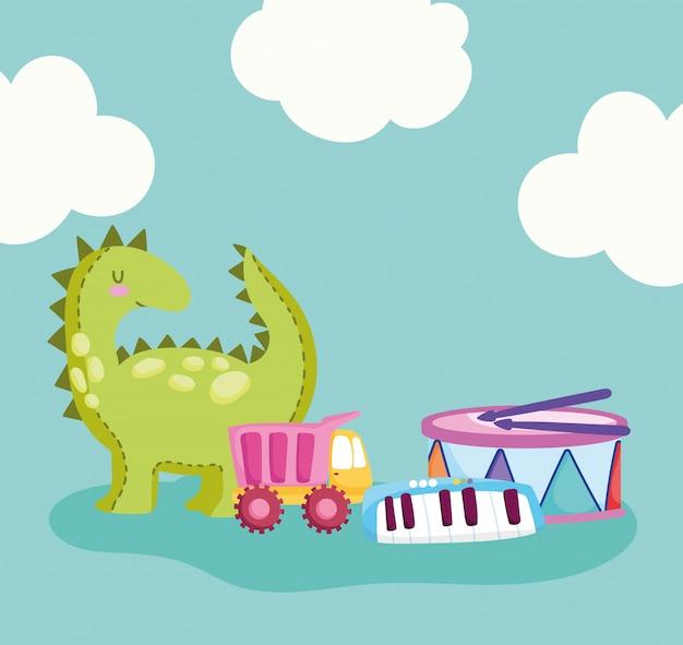 Speelgoedobject voor kleine kinderen om cartoon, dinosaurustrommelwagen en pianoillustratie te spelen