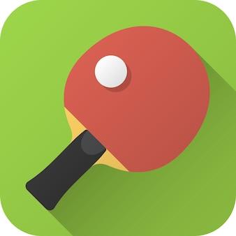 Speelgoedracket pingpong-tafel in plat ontwerp met lange schaduw vectorillustratiepictogram