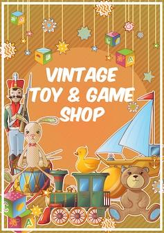Speelgoedwinkel gekleurde poster met vintage speelgoed en game shop titel
